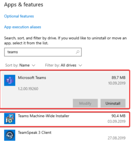 Microsoft Teams Windows 10