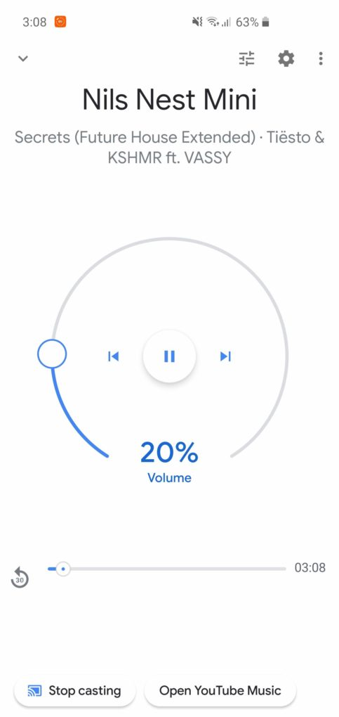 Google Nest Mini Musik Screenshot