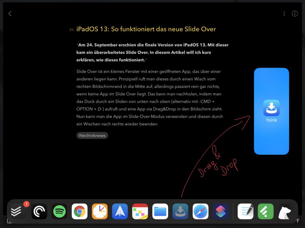 iPadOS 13 Slide Over starten