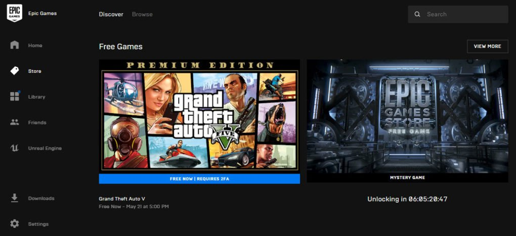 GTA V gratis Epic Games Store